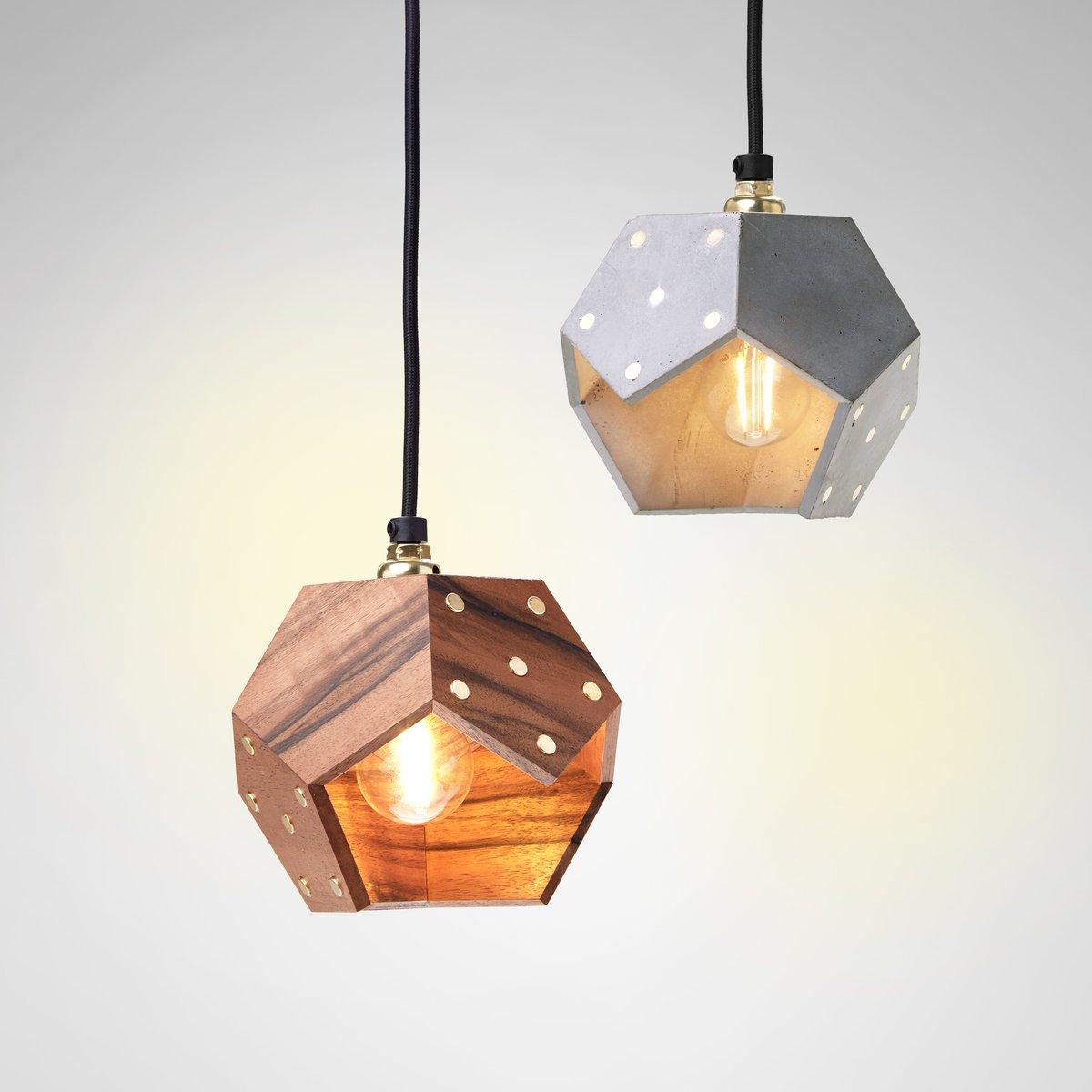 Basic TWELVE Duo Hängelampe in Beton & Nussholz von Plato Design