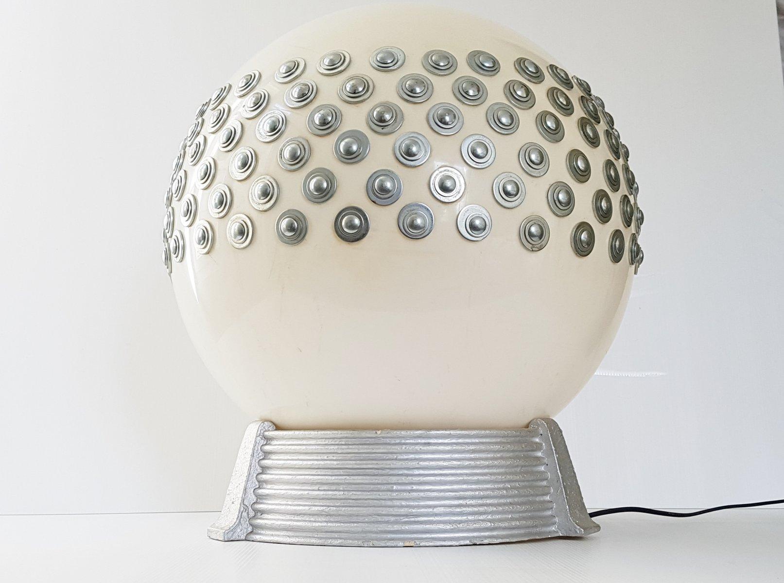 Französische Space Age Tischlampe aus Gips, Stahl, & Plexiglas von Arl...