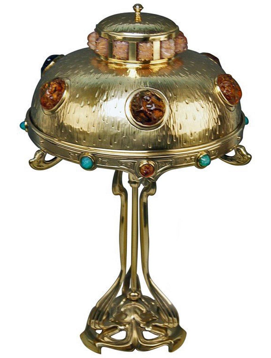 Jugendstil Tischlampe aus Messing & bunten Glassteinen, 1900er
