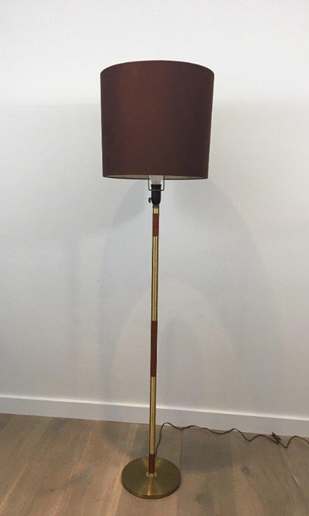 Stehlampe aus Messing & Holz, 1970er