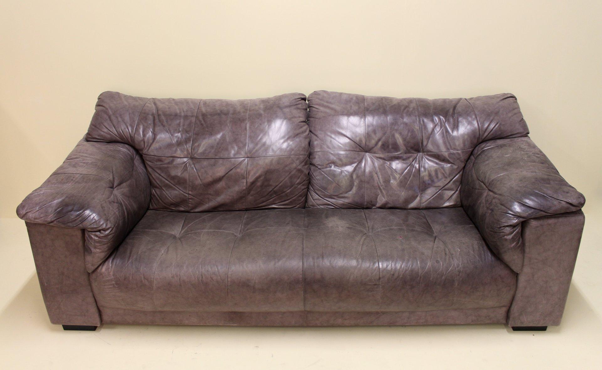 metallisches vintage 2 sitzer ledersofa bei pamono kaufen. Black Bedroom Furniture Sets. Home Design Ideas