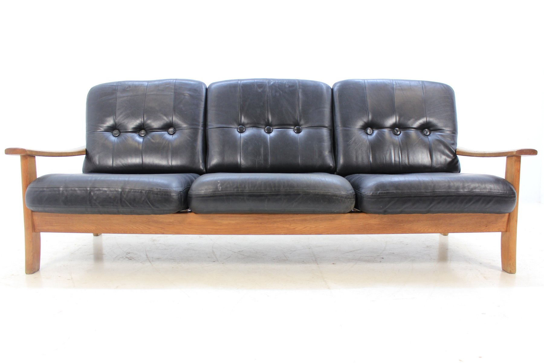 Mid Century Scandinavian Leather Sofa 1960s
