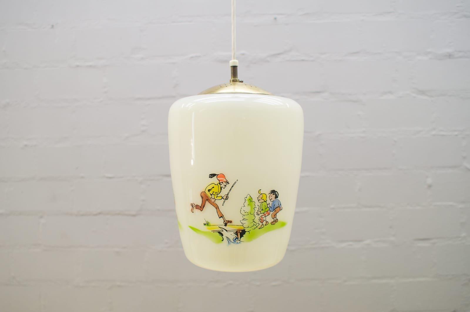 Glaslampe mit handgemaltem Max & Moritz Motiv, 1950er