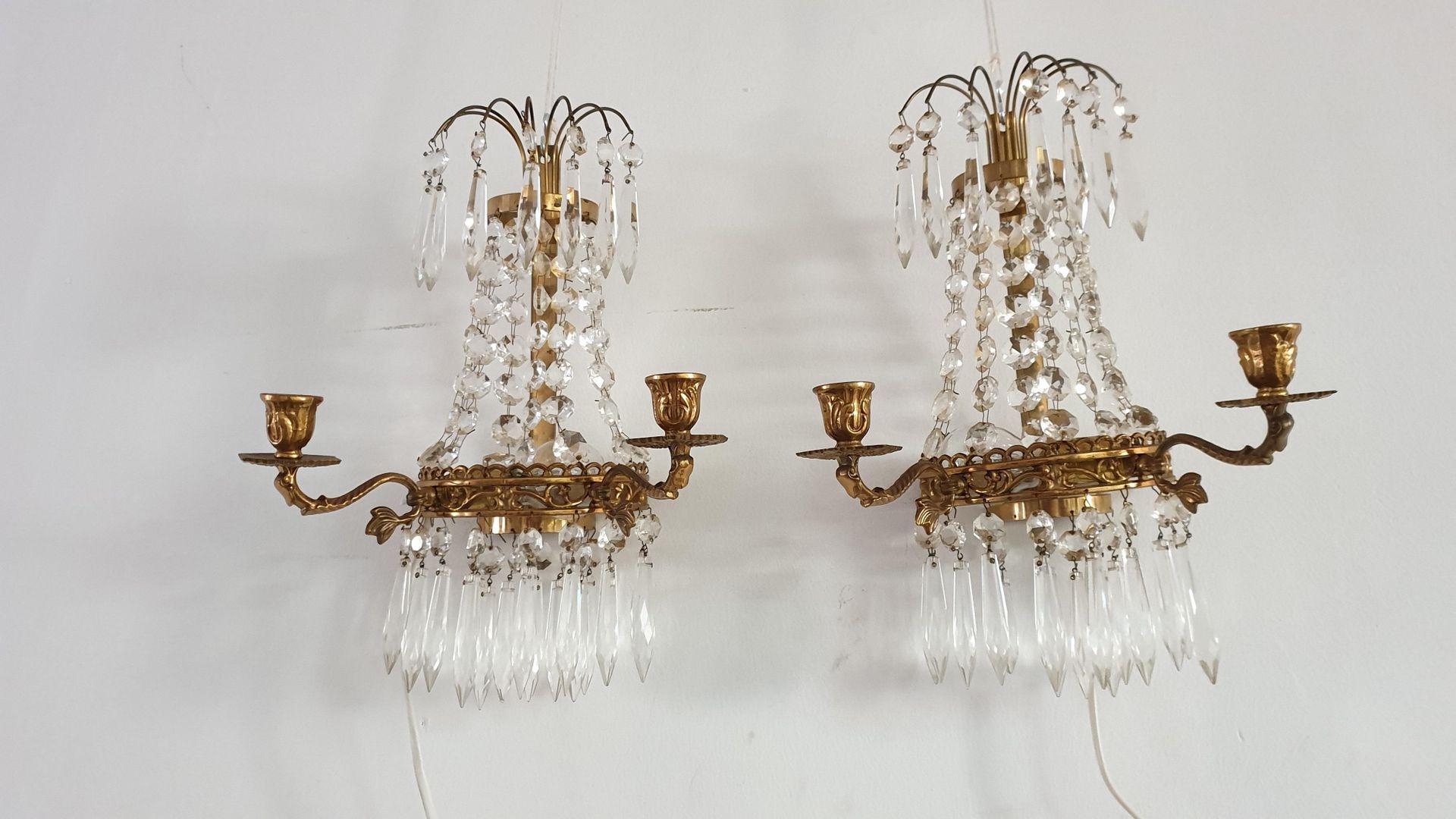 Applique antiche in cristallo anni set di in vendita su pamono