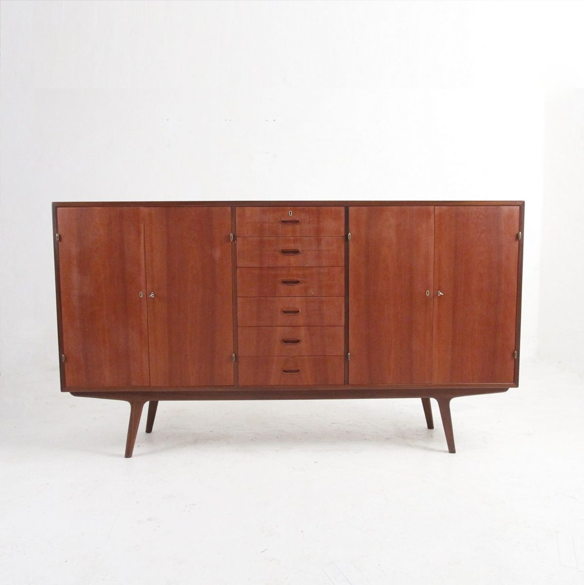 Sideboard aus Teak mit 2 Türen und 6 Schubladen, 1950er