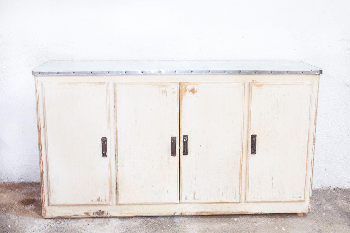 Vintage Sideboard aus Aluminium & Pinienholz