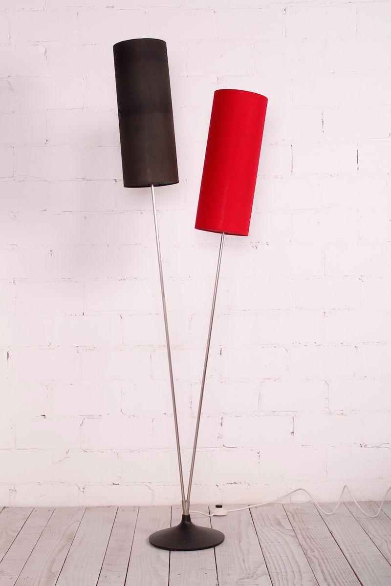 Vintage Stehlampe mit 2 zylindrischen Schirmen, 1960er