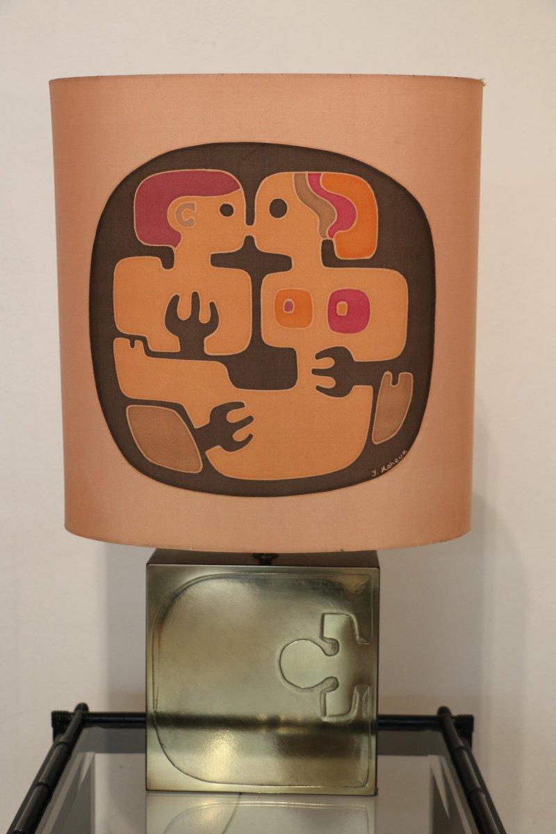 Lampe aus Messing & Holz mit bemaltem Seidenschirm von Yves Maheux, 19...
