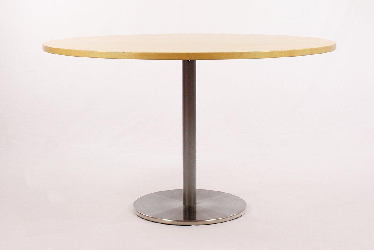 Runder Vintage Tisch aus gebürstetem Metall