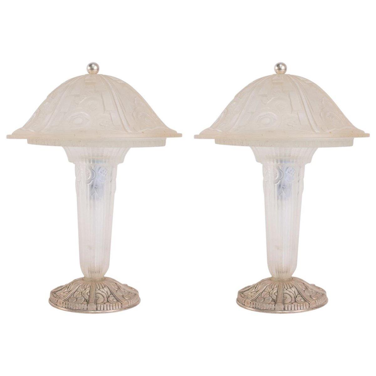 Tischlampen aus Glas von Hettier & Vincent, 1930er, 2er Set