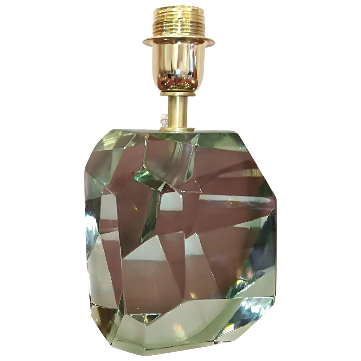 Lampe De Bureau Vintage Verte En Cristal A Facettes De Barovier