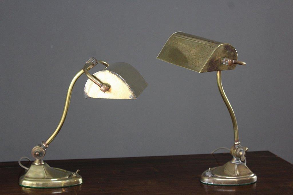 Jugendstil Schreibtischlampen aus Messing, 2er Set | Büro > Büromöbel-Serien | Gold | Messing