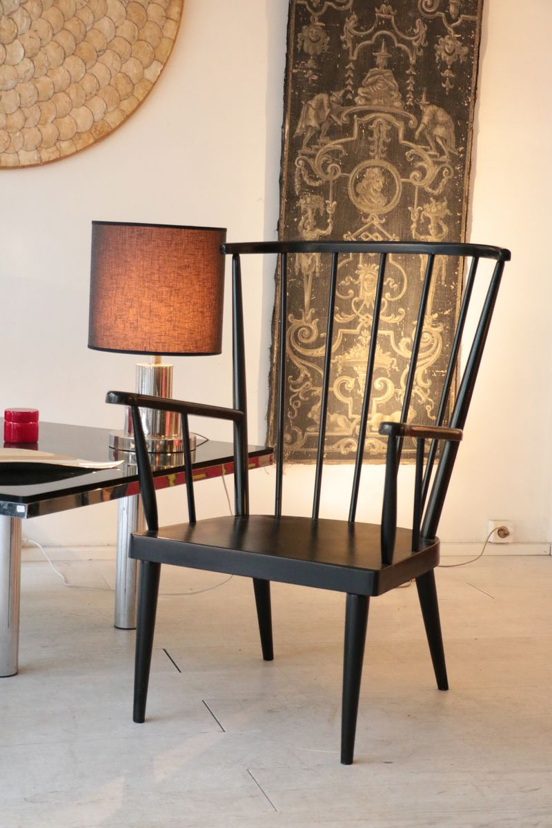 Schwarze Sessel aus Holz, 1960er, 2er Set