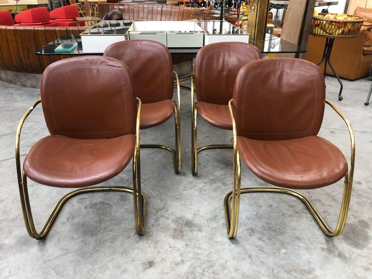 Sedie Vintage Pelle : Sedie vintage in pelle italia anni 70 set di 4 in vendita su pamono