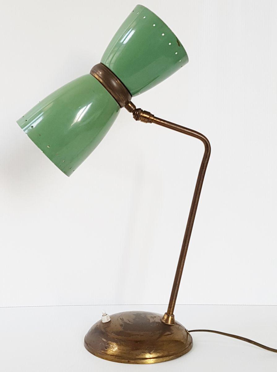 Grün lackierte französische Mid-Century Tischlampe aus Stahl & Messing...