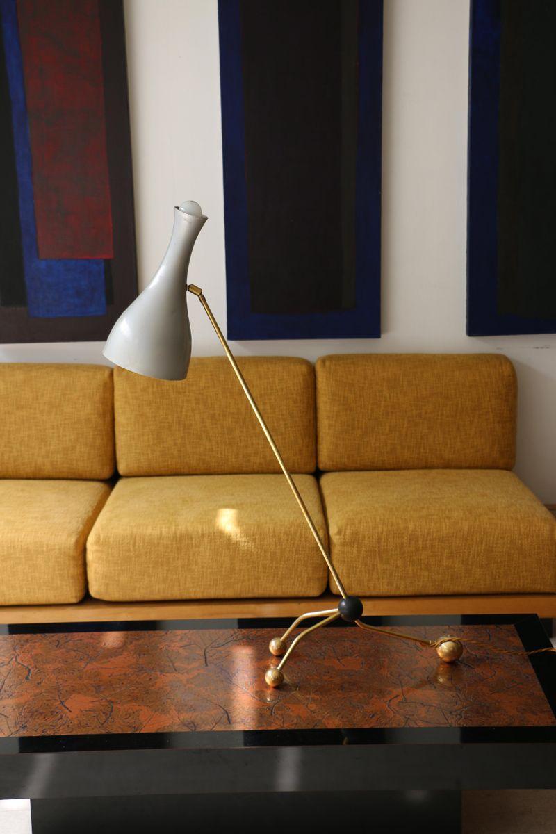 Lampe mit Gelenkarm aus Blech und Messing, 1990er