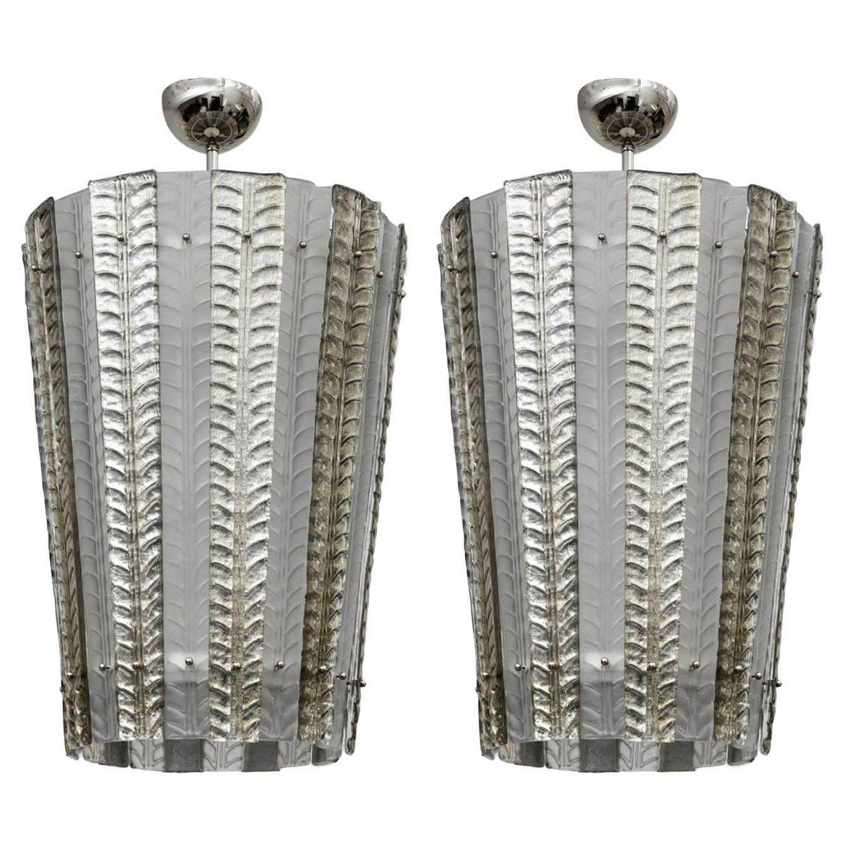 Vintage Laternen Hängelampen aus Muranoglas, 2er Set