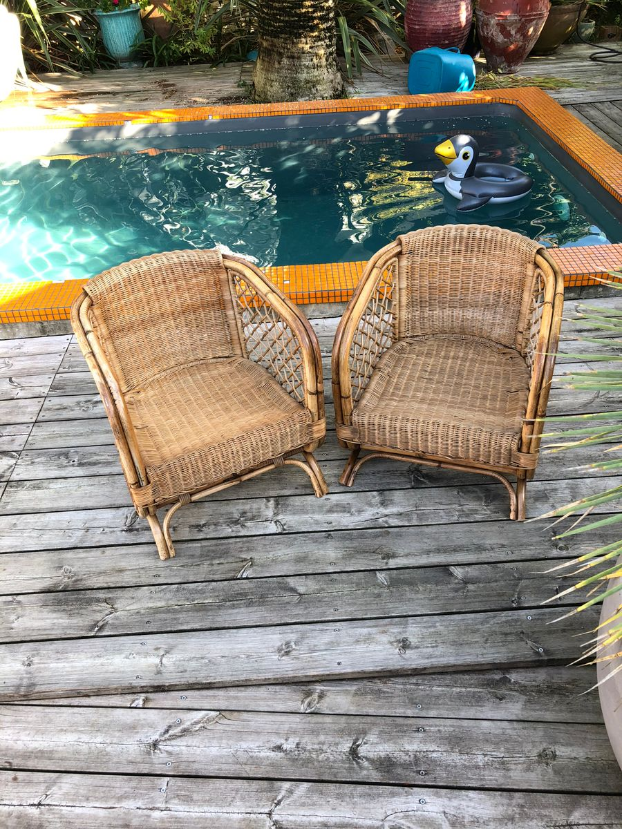 Vintage Rattan Lounge Chairs, Set of 2