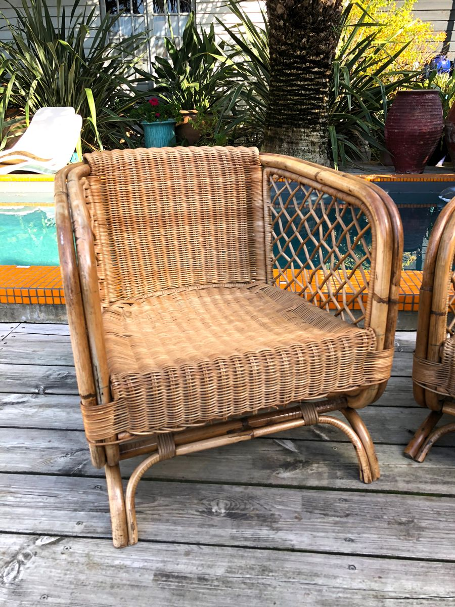 Merveilleux Vintage Rattan Lounge Chairs, Set Of 2