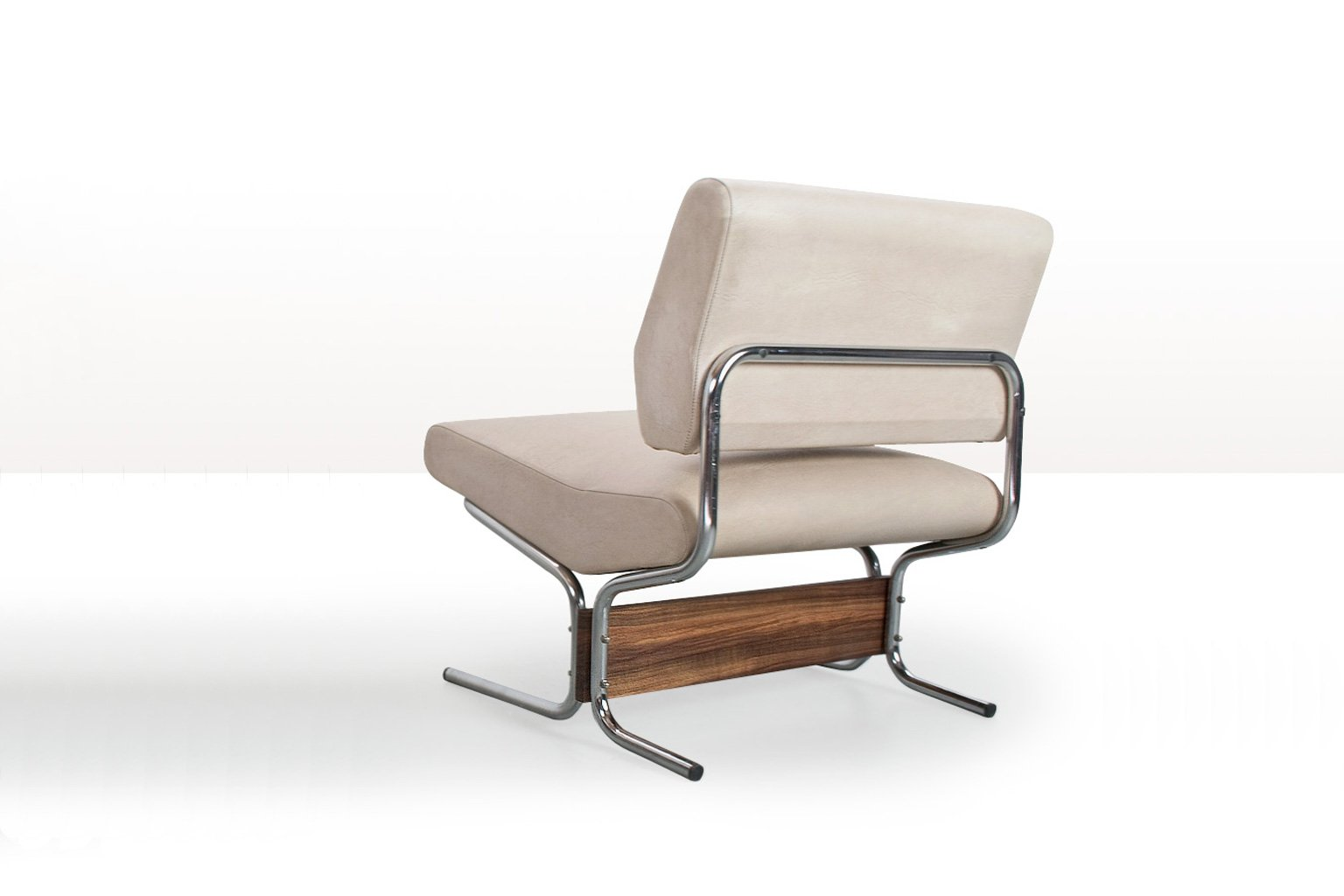 white faux leather lounge chair by pierre guariche for meurop 1960s for sale at pamono. Black Bedroom Furniture Sets. Home Design Ideas