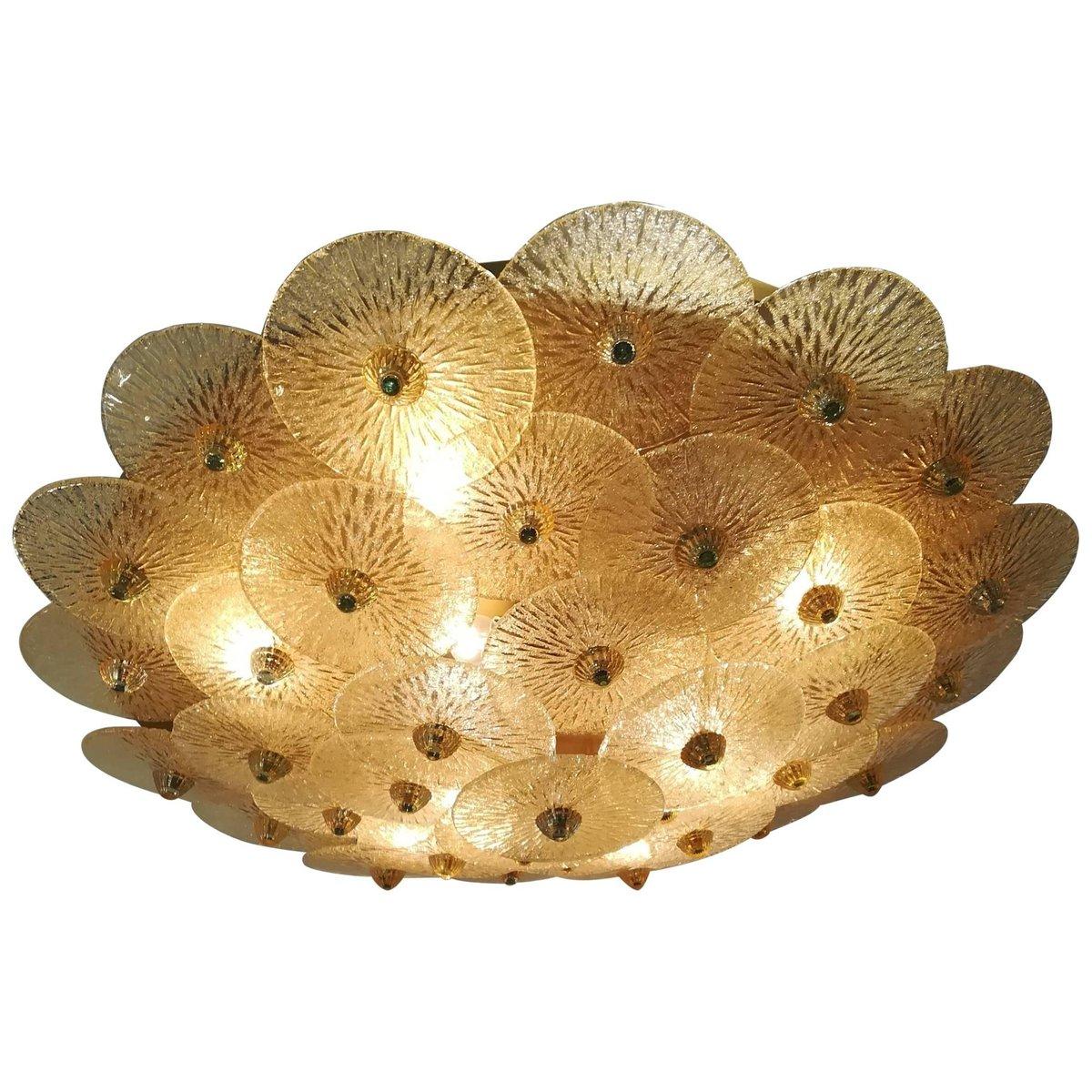 Große goldene Vintage Deckenlampe aus Kristallglas