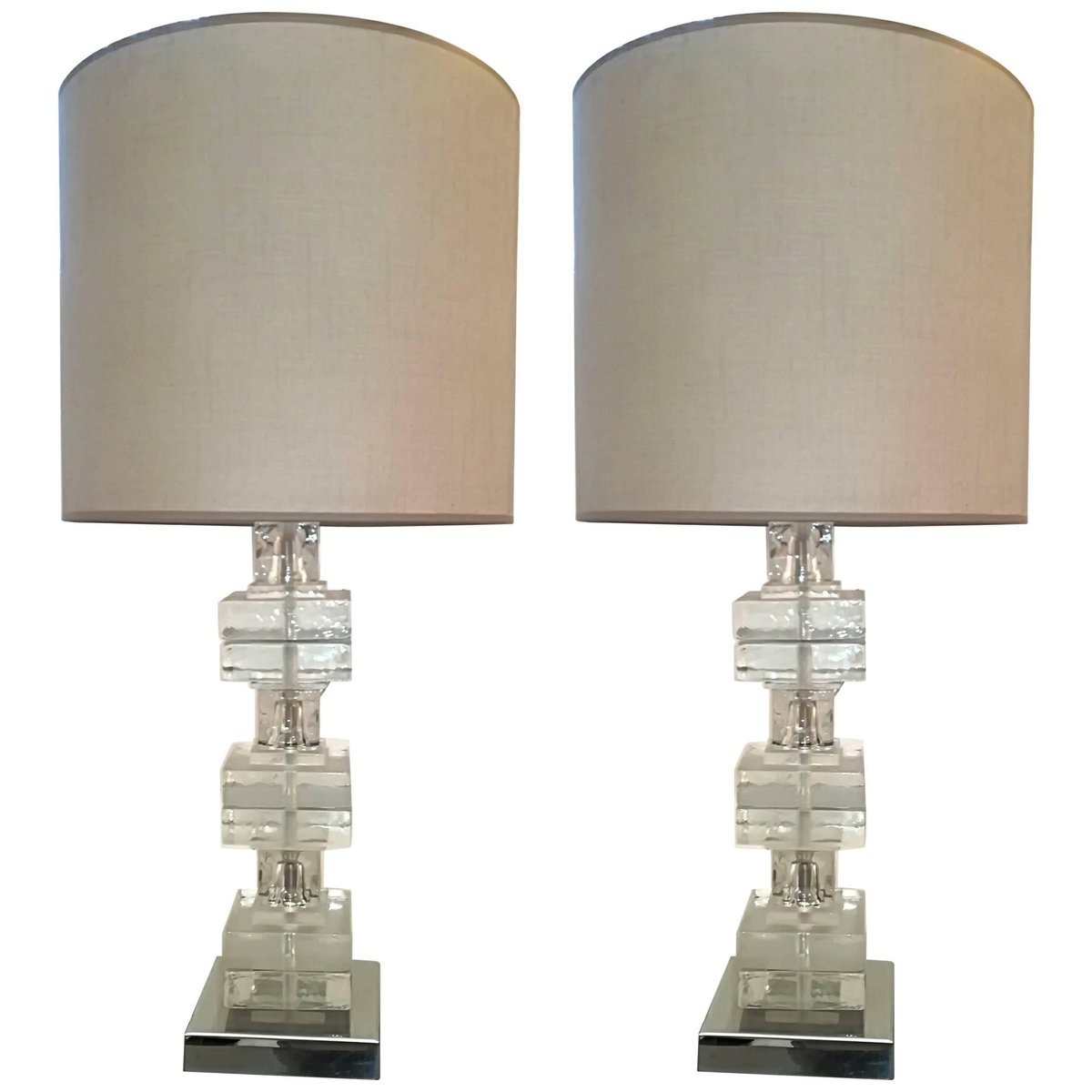 Vintage Glass Table Lamps, Set Of 2