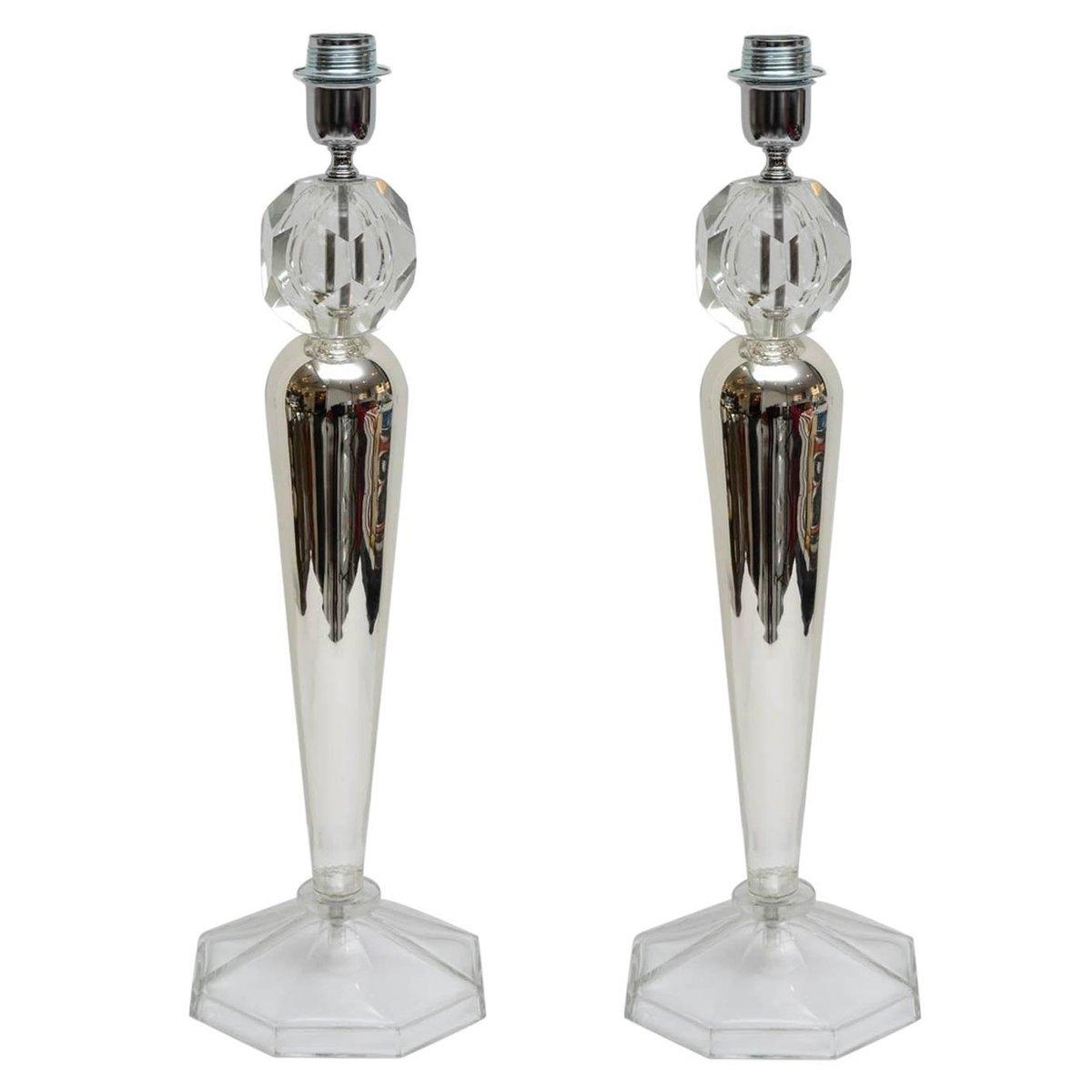 Italienische Vintage Tischlampen aus Kristallglas, 2er Set