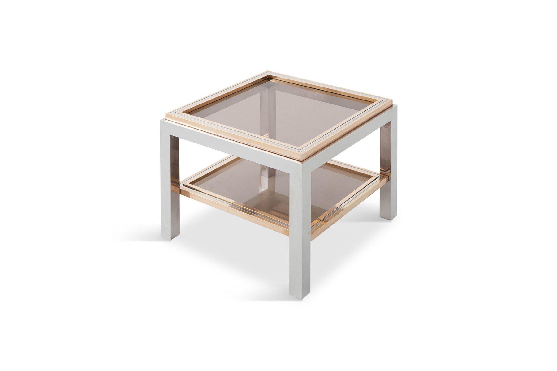 quadratischer beistelltisch aus messing chrom glas von willy rizzo 1970er bei pamono kaufen. Black Bedroom Furniture Sets. Home Design Ideas