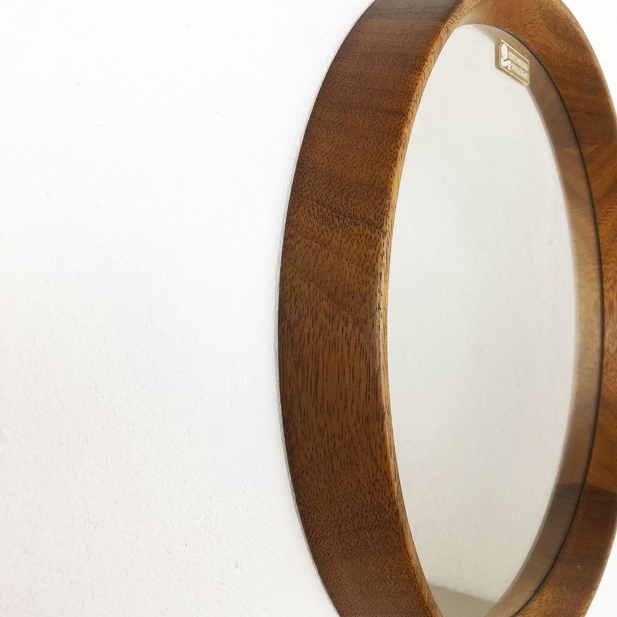 spiegel aus kristallglas mit eichenholzrahmen 1960er bei
