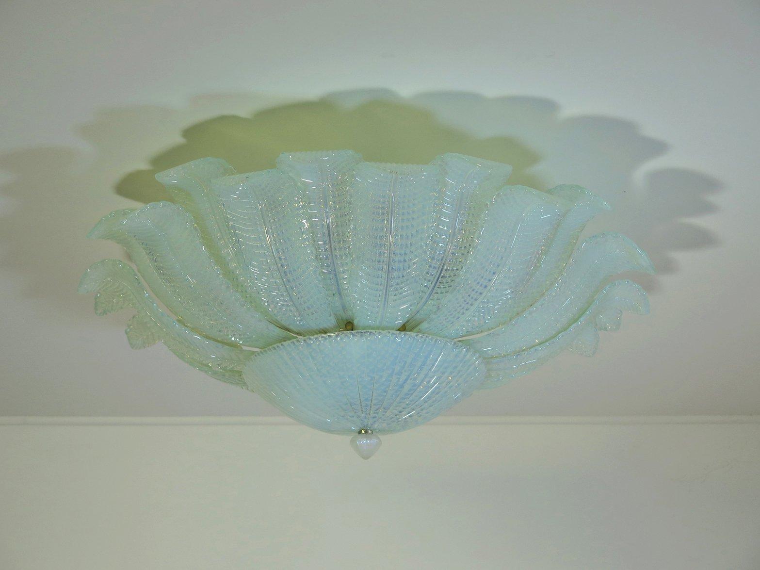 Deckenlampe aus Opal- & Muranoglas in Blumen-Optik von Mazzega, 1982