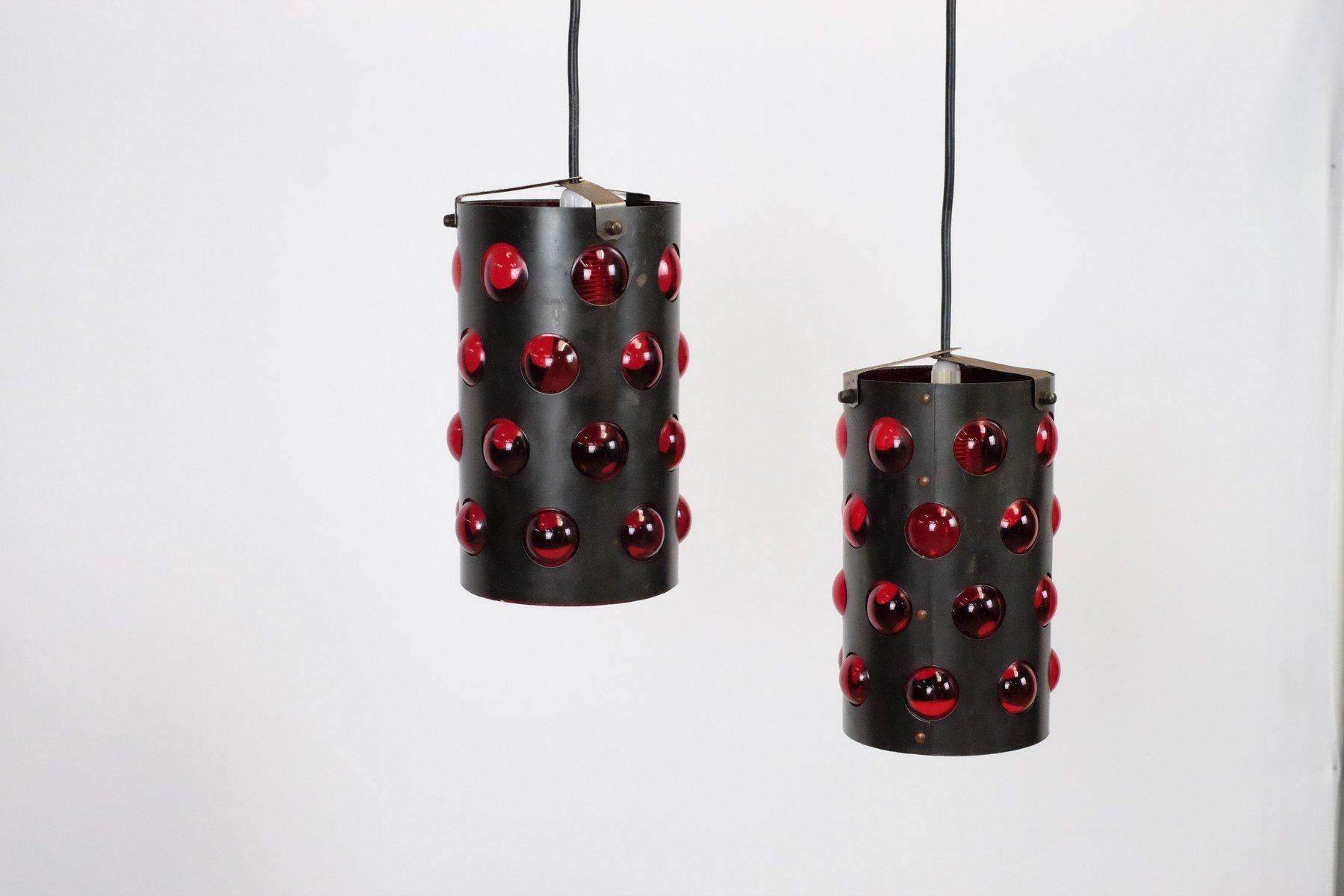 Zylindrische Vintage Deckenlampen, 2er Set