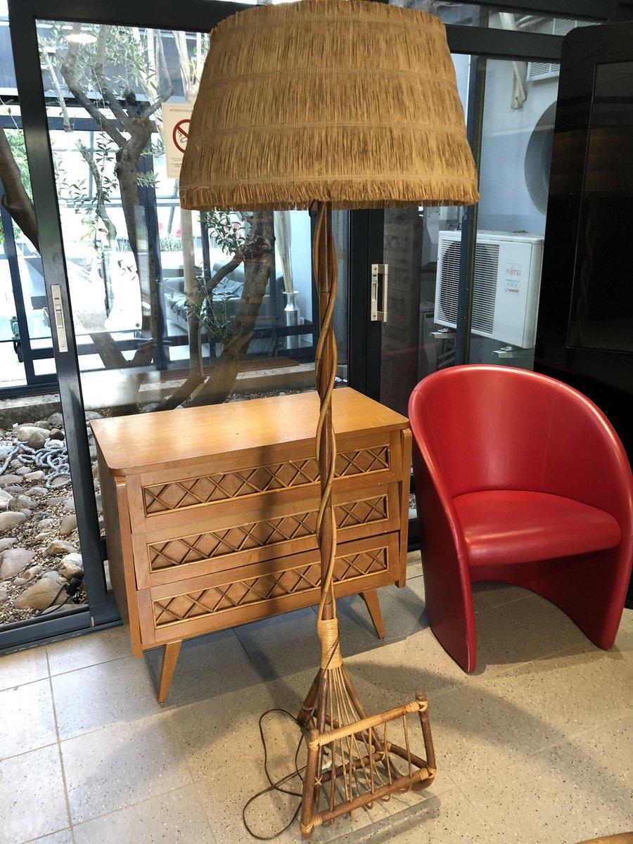 Stehlampe Mit Zeitschriftenstander Aus Bambus 1960er Bei Pamono Kaufen