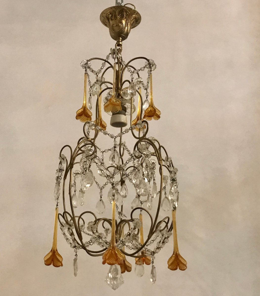 Murano Chandelier Nz: Vintage Crystal & Murano Chandelier For Sale At Pamono