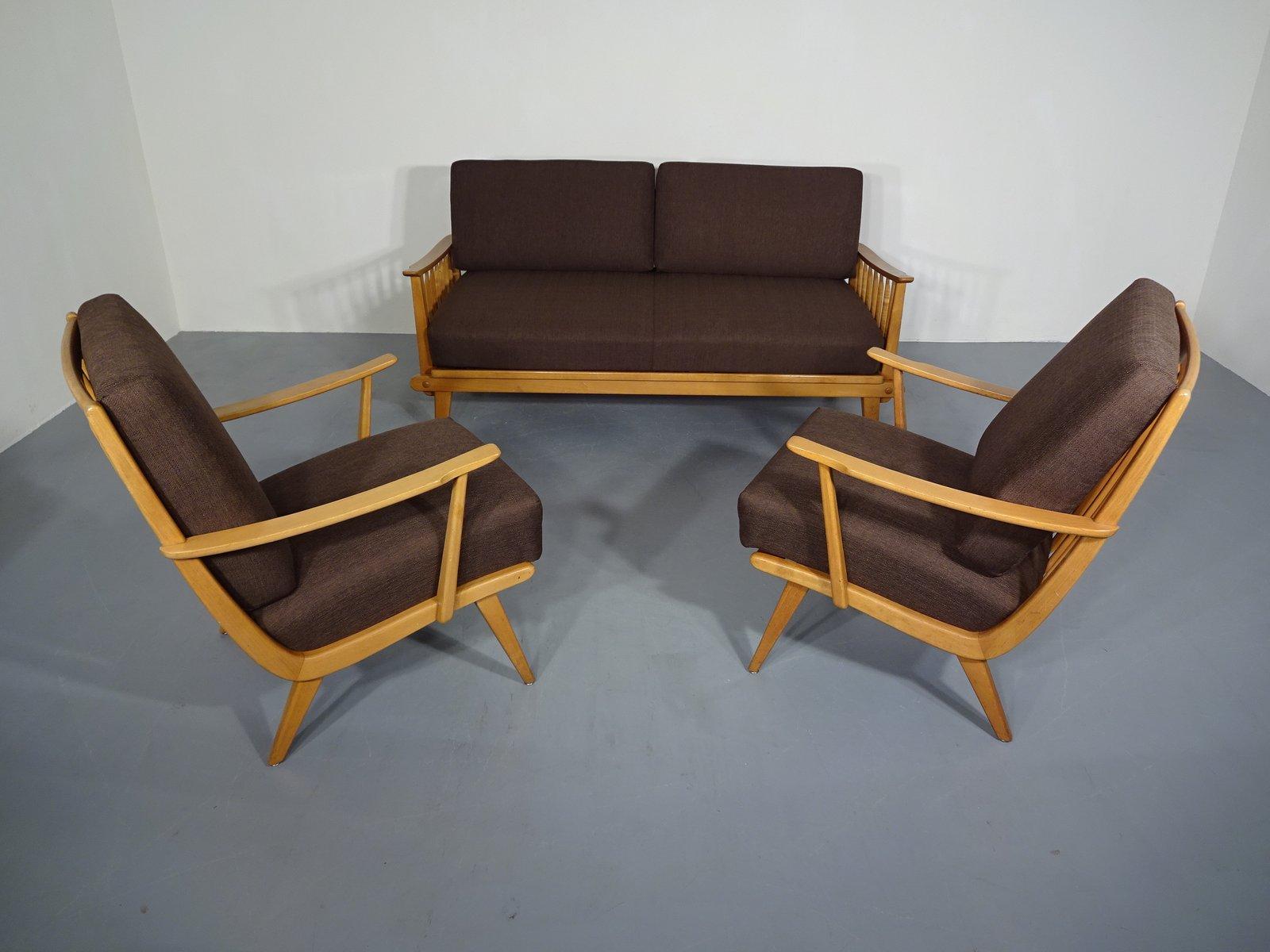 Tagesbett und 2 Sessel von Walter Knoll, 1950er