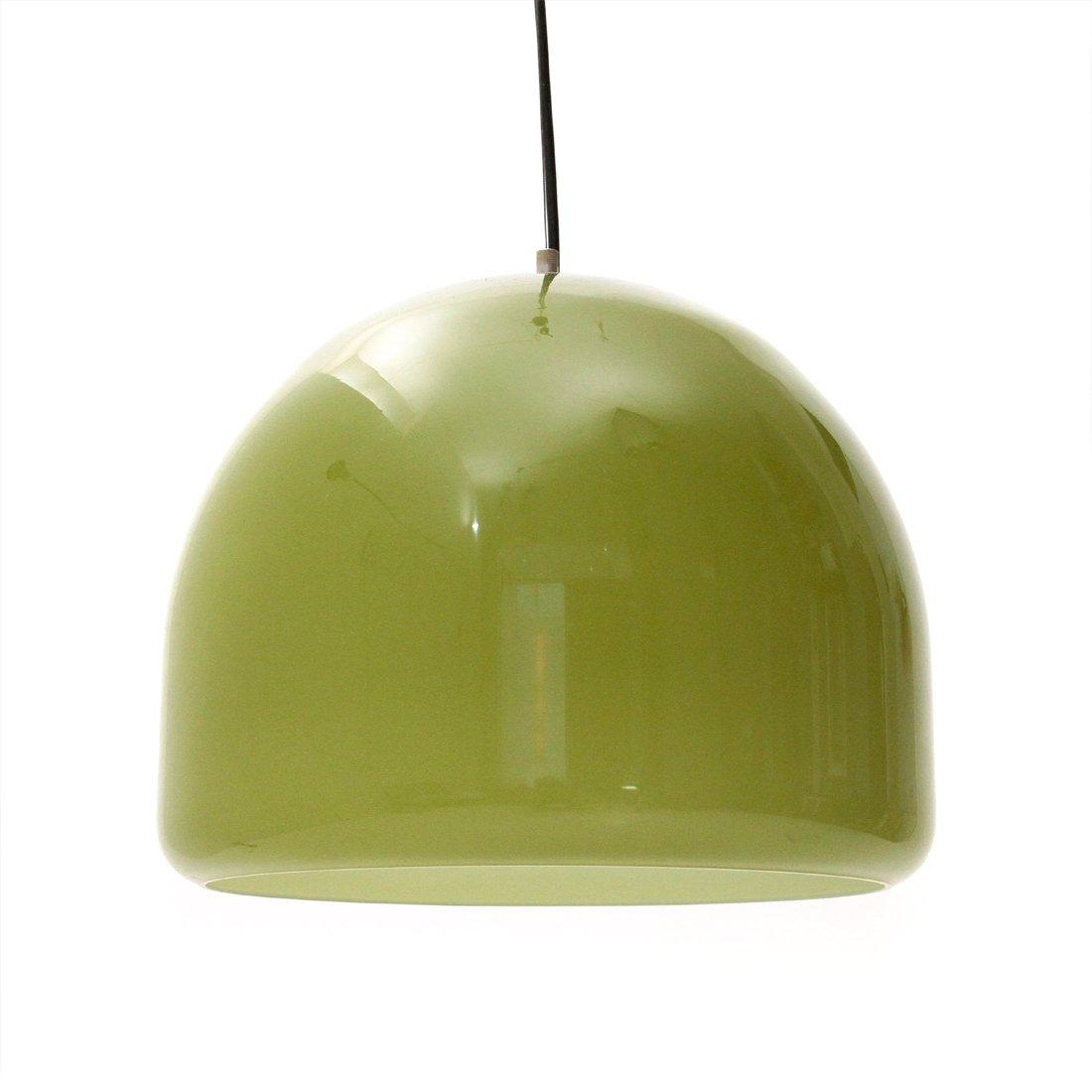 Italienische Hängelampe aus grünem Glas, 1950er