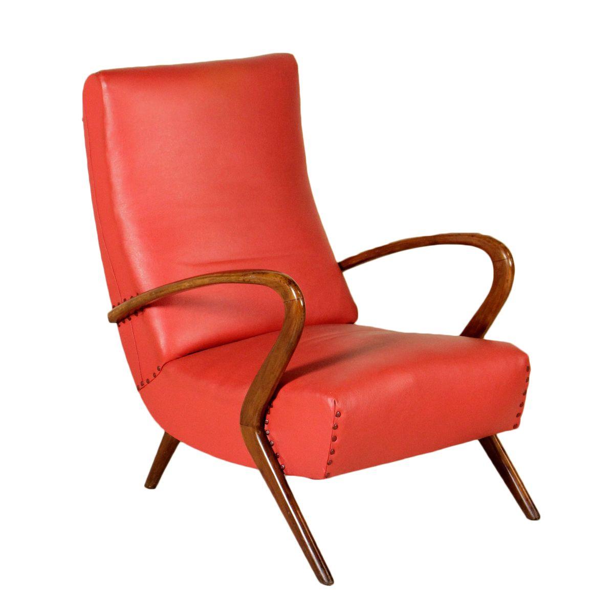Italienischer Sessel aus Kunstleder & gebeizter Buche, 1950er