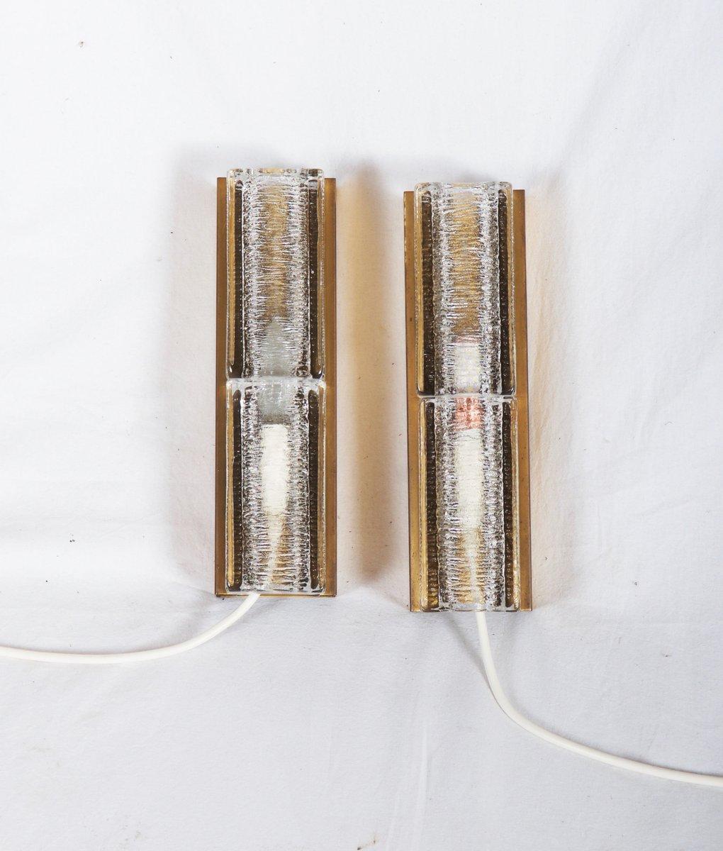Mid-Century Wandlampen aus Glas und Messing von Vitrika, 1966, 2er Set