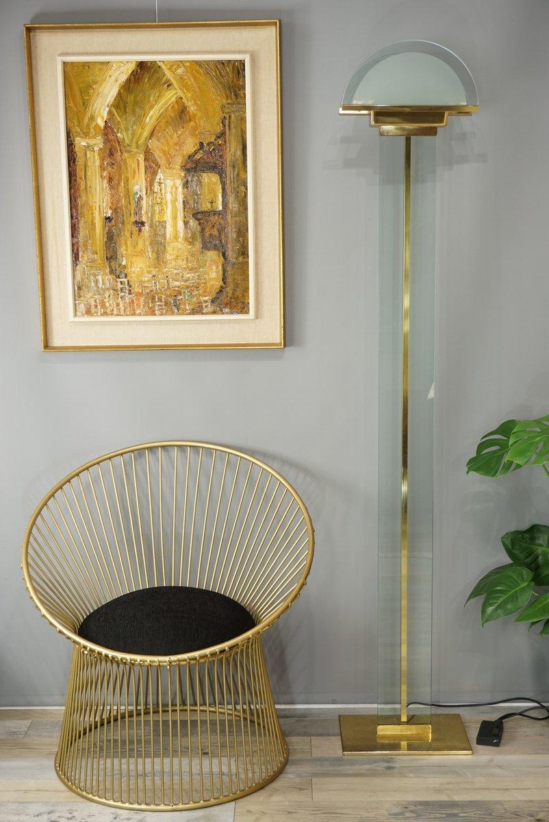 Italienische Stehlampe aus Messing & Glas von Mauro Martini für Fratel...