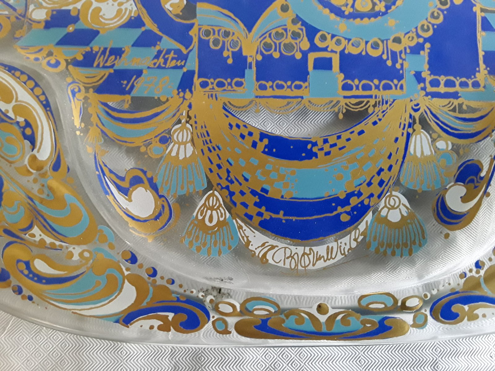 Assiette murale vintage en verre par bj rn wiinblad pour - Assiette murale ...