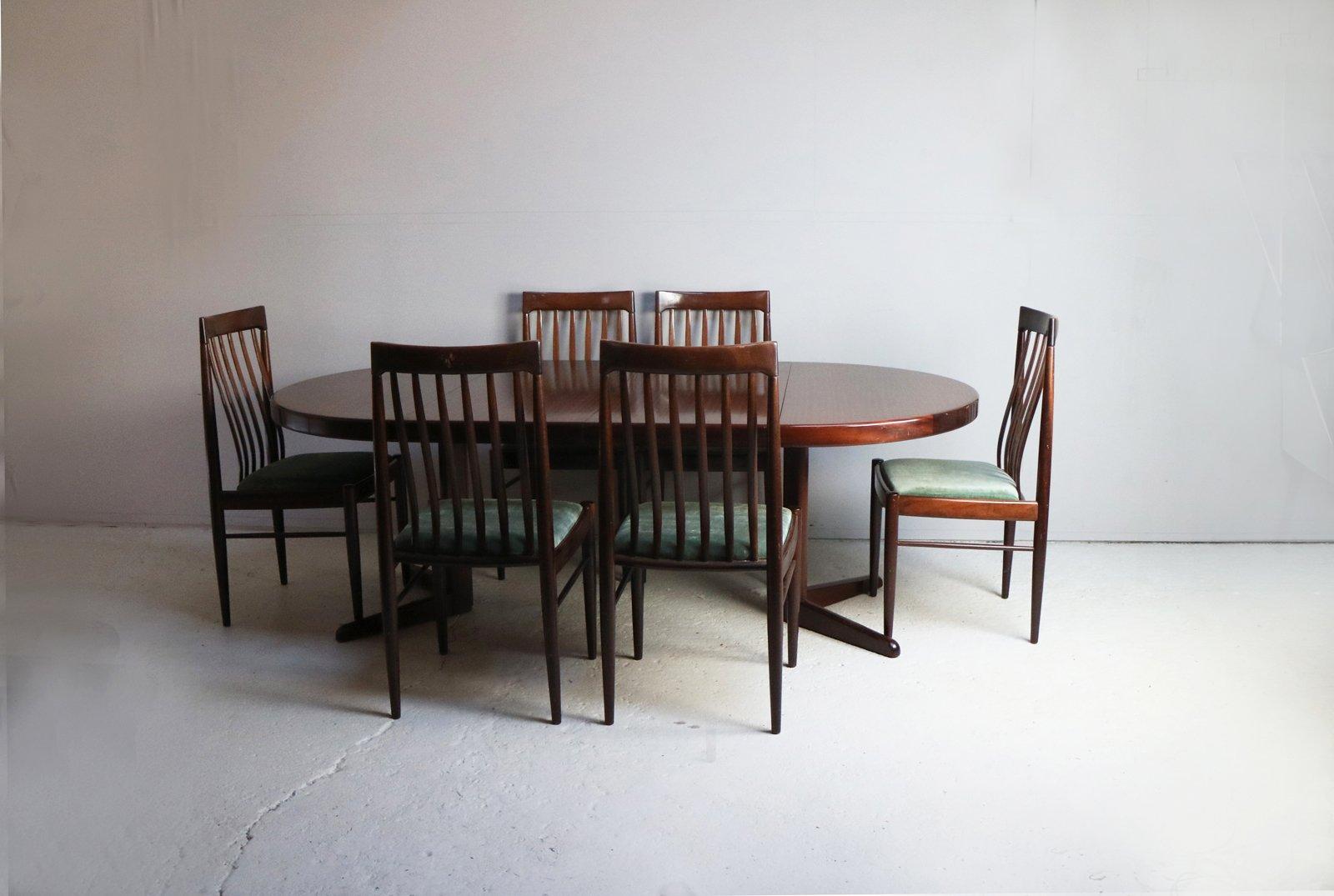 Dänischer Mid-Century Esstisch und 6 Stühle von H.W. Klein für Bramin