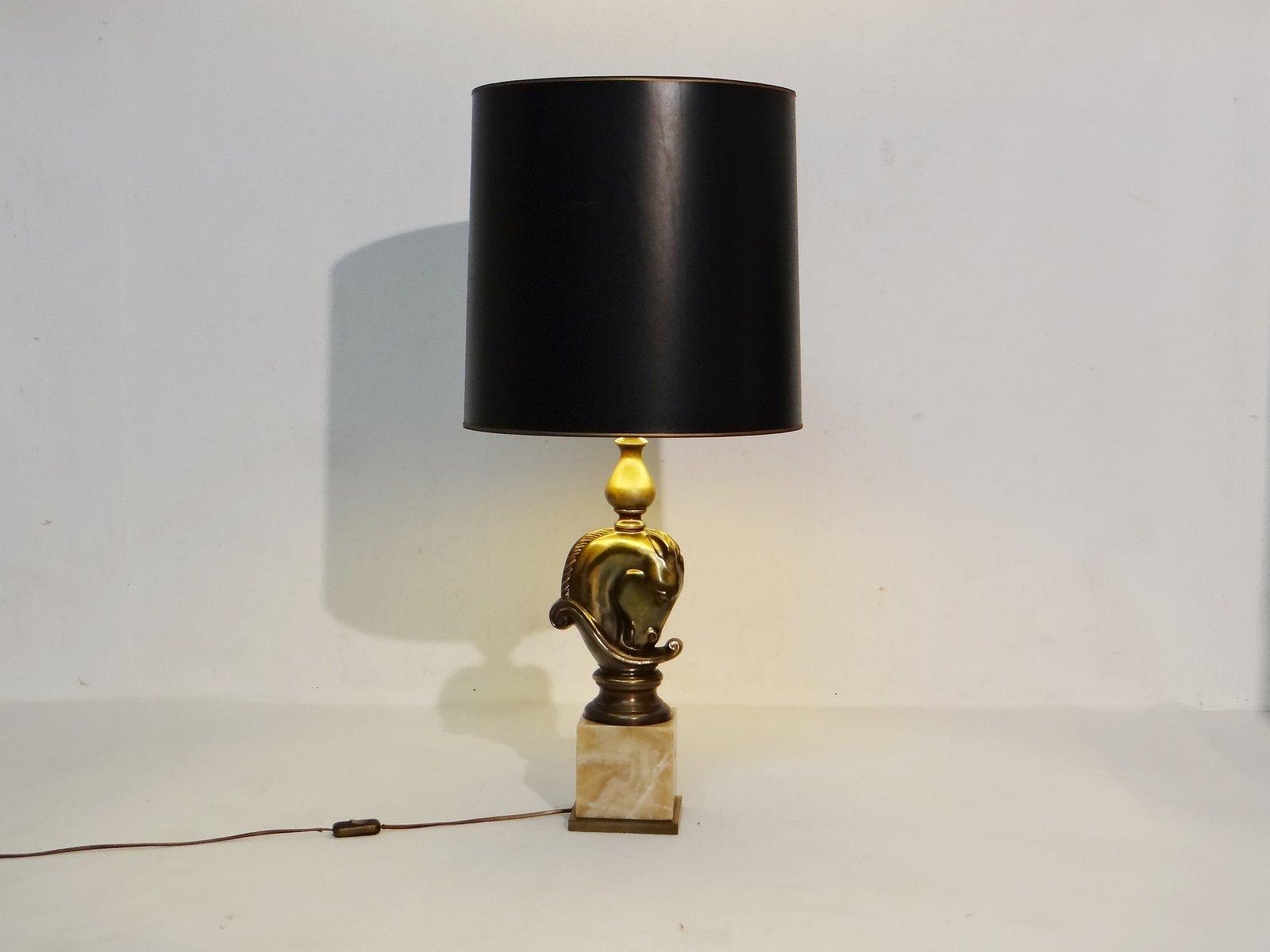 Vintage Pferdekopf Tischlampe von Deknudt