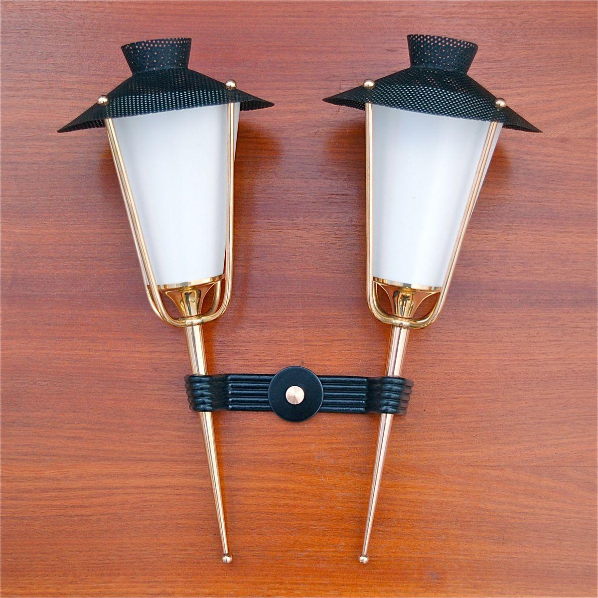 Wandleuchte mit 2 Leuchten von Arlus, 1950er