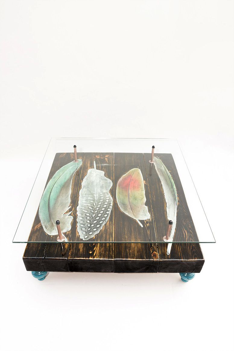 Couchtisch mit Vogelfeder-Motiven von Cappa E Spada für Anthony Parry