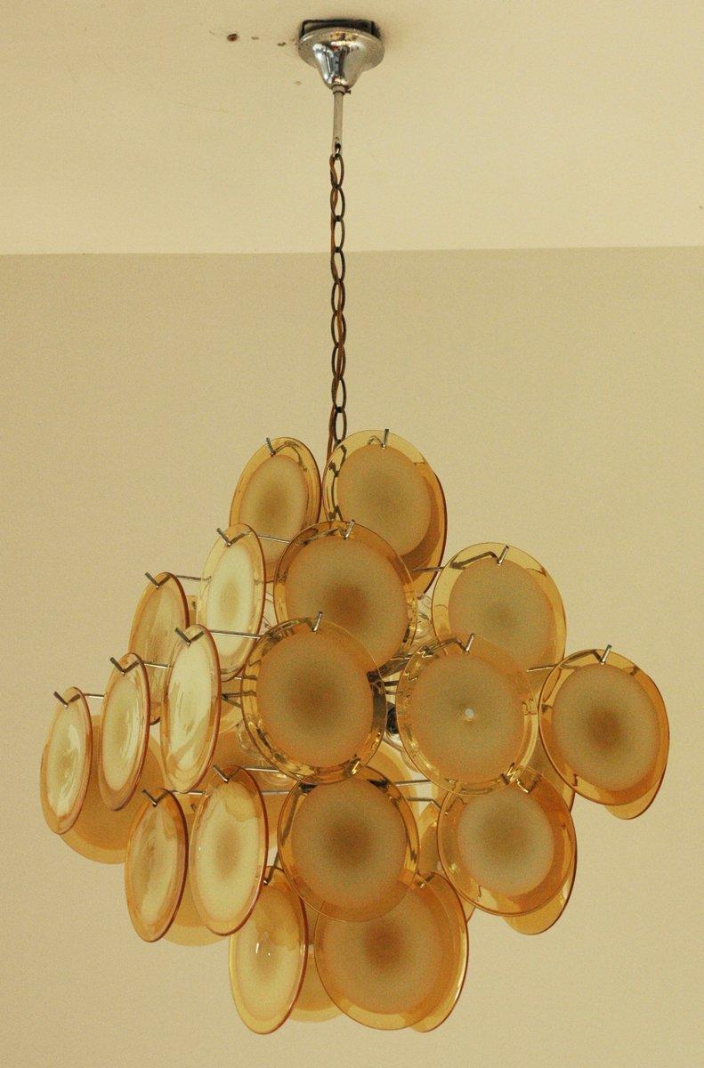 Gelber Mid-Century Kronleuchter mit 36 Scheiben von Gino Vistosi