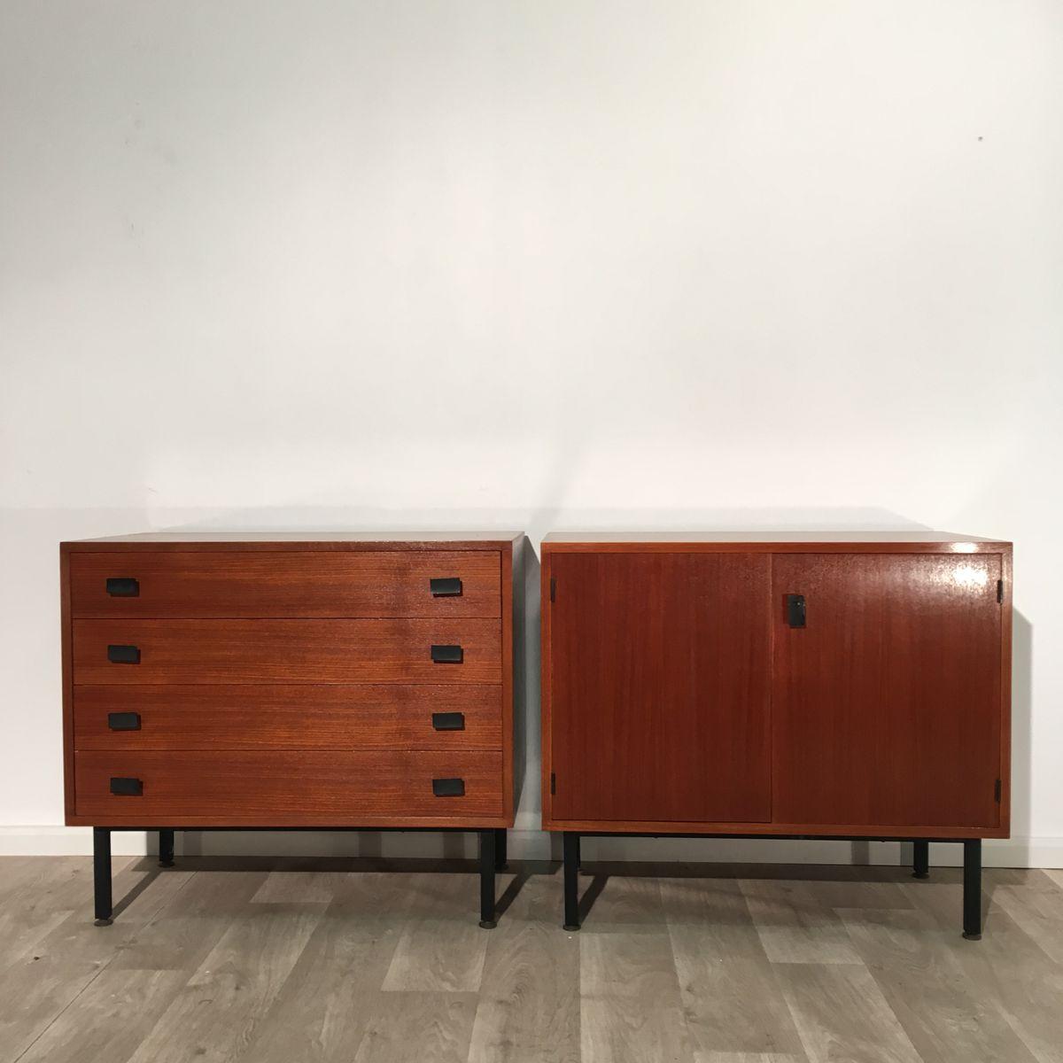Französische Vintage Kommode aus Teak & Sideboard, 2er Set