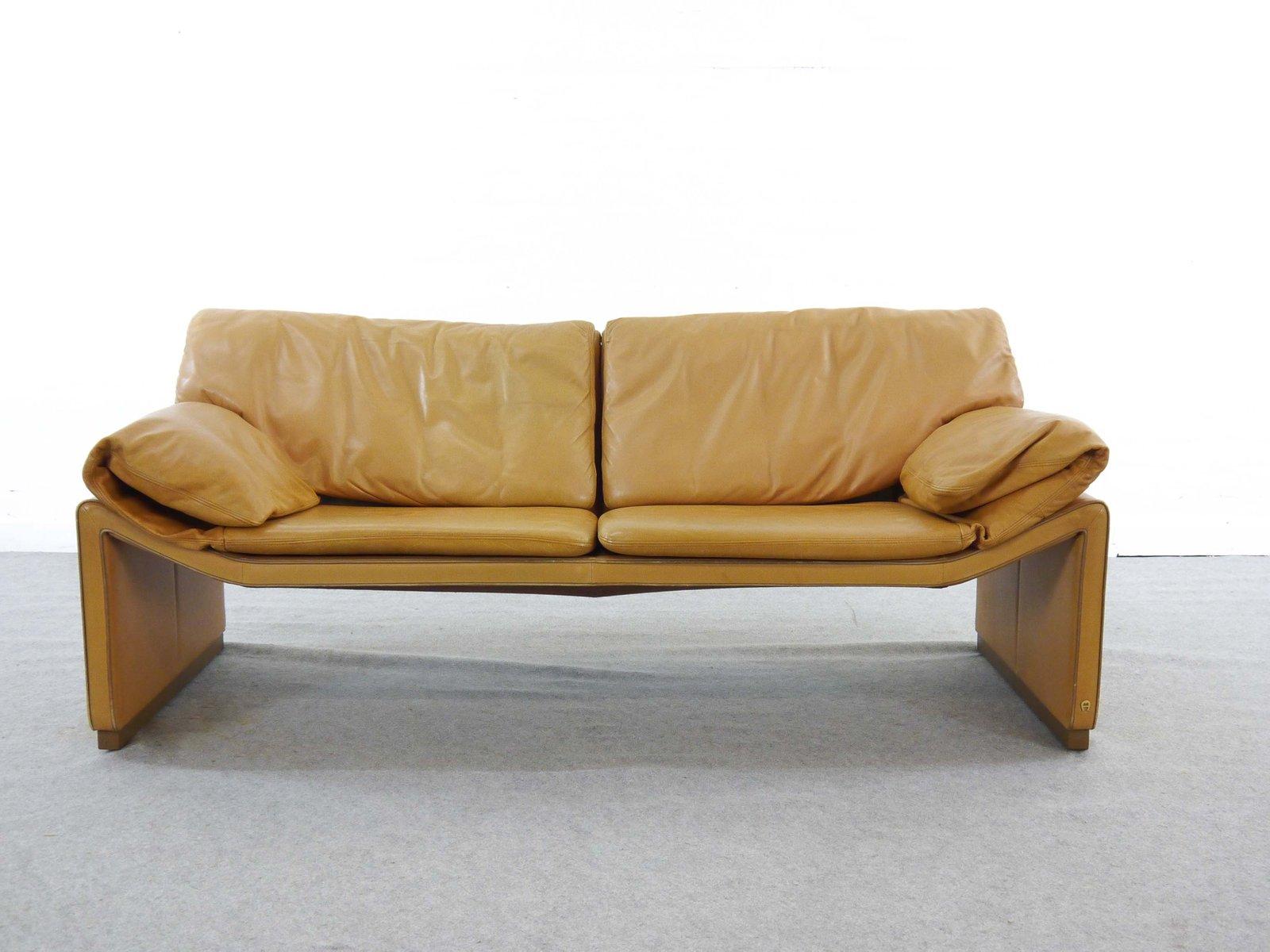 2 Sitzer Sofa Aus Cognac Leder Von Etienne Aigner 1980er Bei Pamono