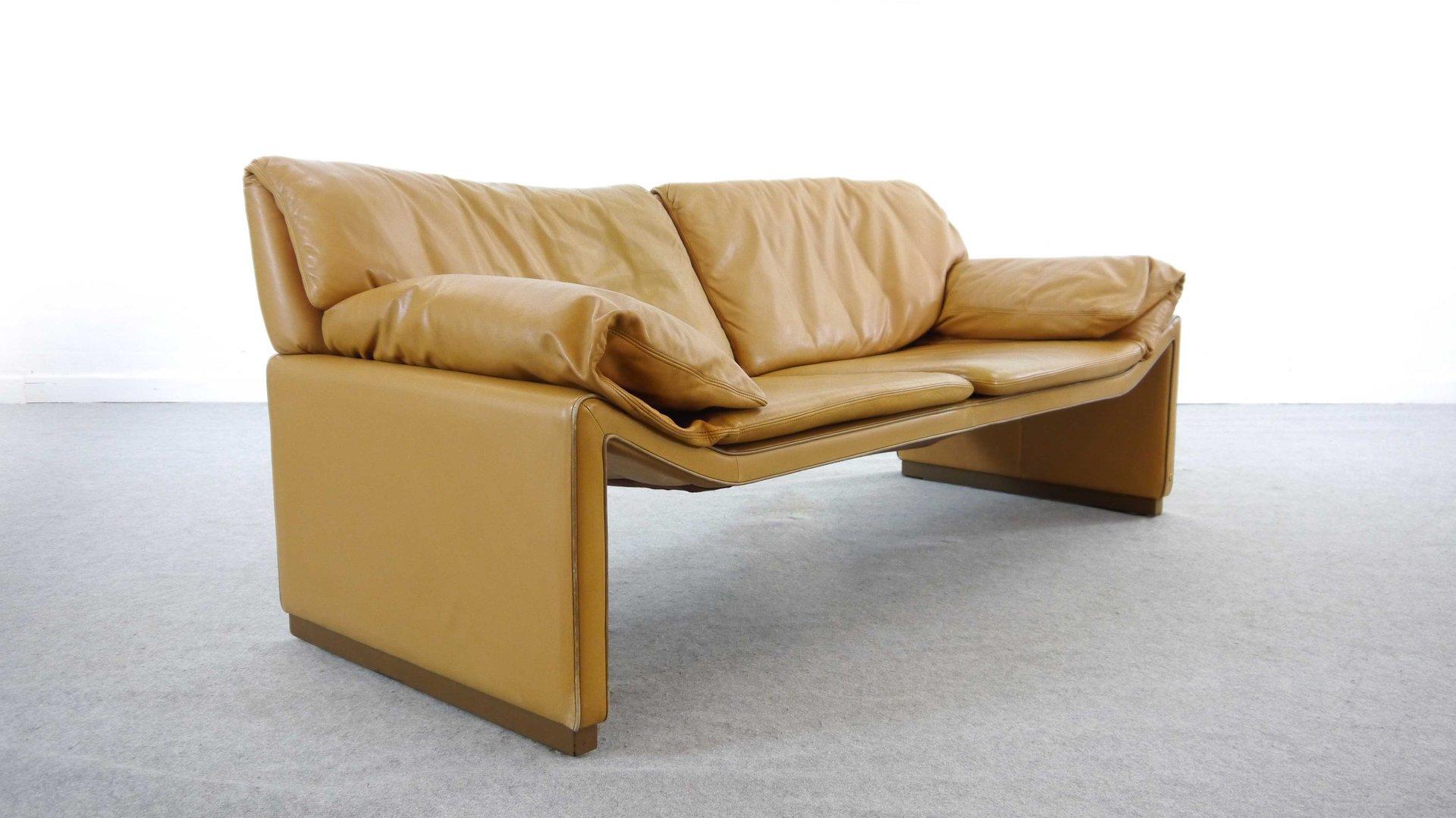 2 sitzer sofa aus cognac leder von etienne aigner 1980er. Black Bedroom Furniture Sets. Home Design Ideas