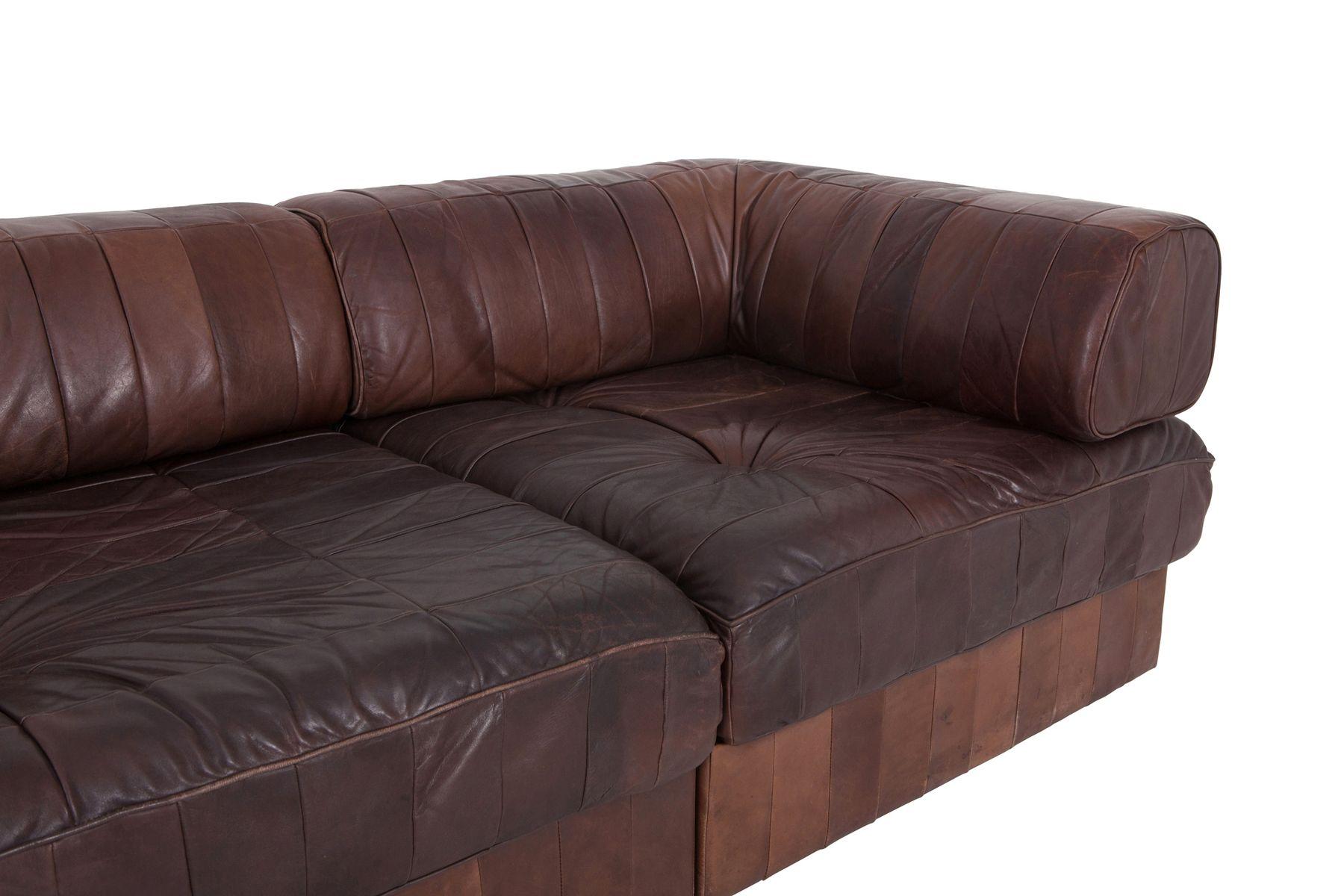 modulares braunes sofa aus cognac leder von de sede bei pamono kaufen. Black Bedroom Furniture Sets. Home Design Ideas