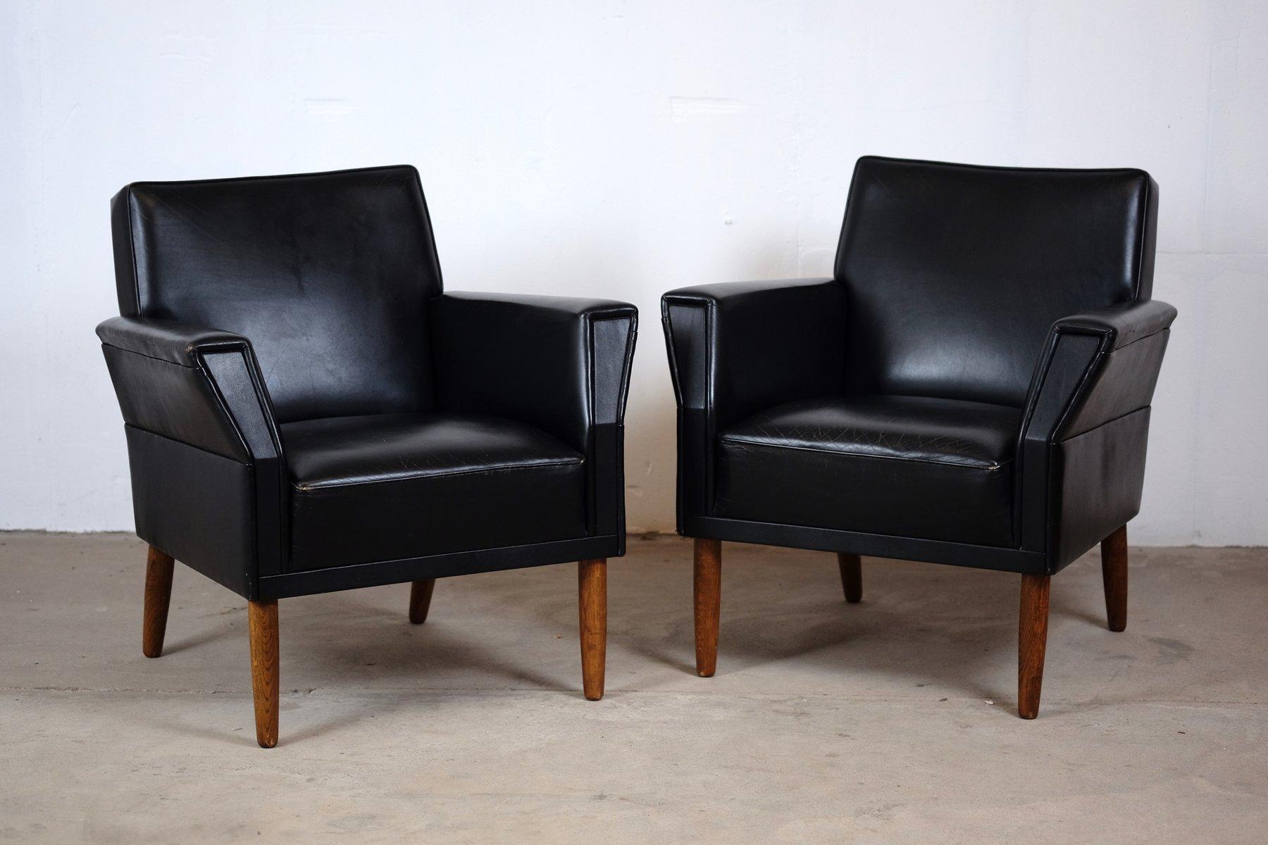 d nische mid century sessel aus schwarzem leder 2er set bei pamono kaufen. Black Bedroom Furniture Sets. Home Design Ideas