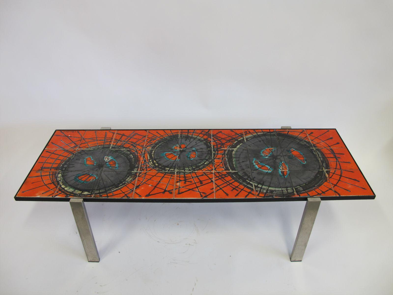 Tavolo mid century con piastrelle in ceramica di juliette belarti